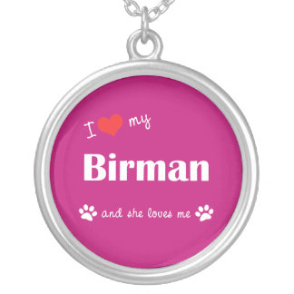 I Love My Birman (Female Cat) Round Pendant Necklace