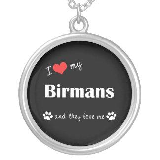 I Love My Birmans (Multiple Cats) Round Pendant Necklace