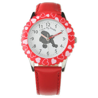 I Love My Black Poodle Watches