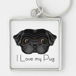 I Love my Black Pug Silver-Colored Square Key Ring