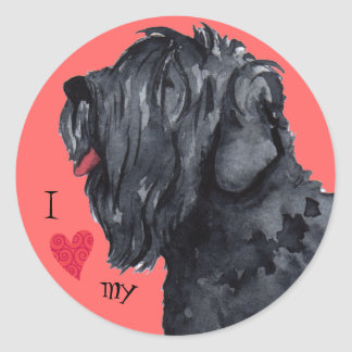 I Love my Black Russian Terrier Classic Round Sticker
