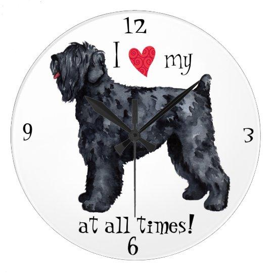 I Love my Black Russian Terrier Large Clock