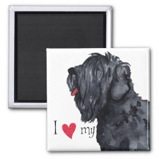 I Love my Black Russian Terrier Square Magnet
