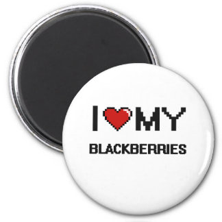 I Love My Blackberries Digital design 6 Cm Round Magnet