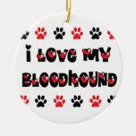 I Love My Bloodhound Christmas Tree Ornament