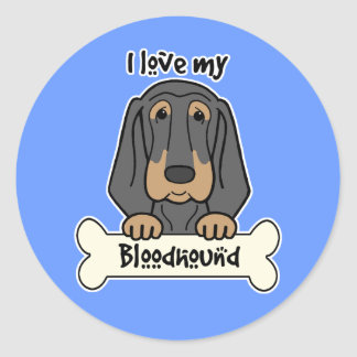 I Love My Bloodhound Classic Round Sticker
