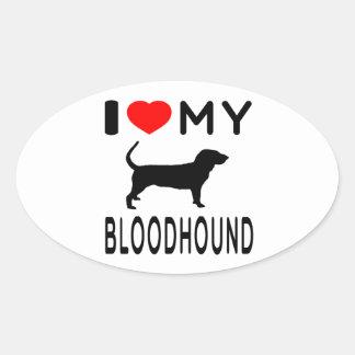 I Love My Bloodhound Oval Sticker