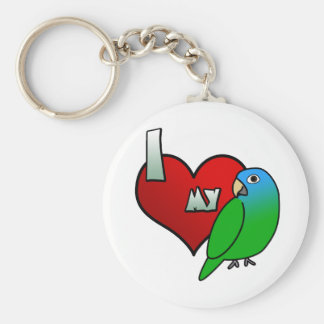 I Love my Blue Crowned Conure Basic Round Button Key Ring