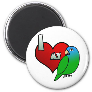 I Love my Blue Crowned Conure 6 Cm Round Magnet