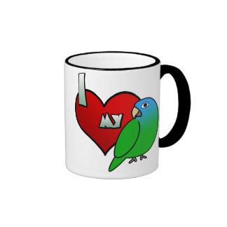 I Love my Blue Crowned Conure Ringer Mug