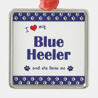 I Love My Blue Heeler (Female Dog) Christmas Ornament