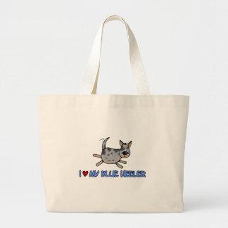 i love my blue heeler large tote bag