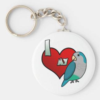 I Love my Blue Quaker Parakeet Keychain