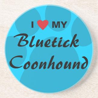 I Love My Bluetick Coonhound Pawprint Drink Coaster