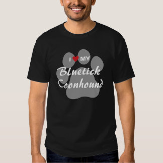 I Love My Bluetick Coonhound Pawprint T Shirts