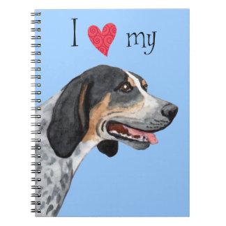 I Love my Bluetick Coonhound Spiral Notebooks
