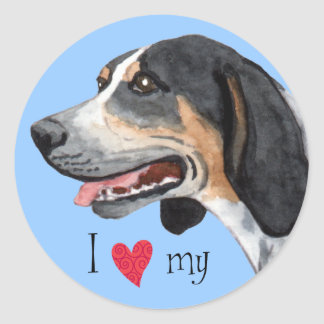 I Love my Bluetick Coonhound Classic Round Sticker