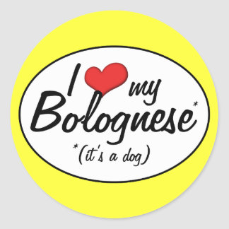 I Love My Bolognese (It's a Dog) Stickers