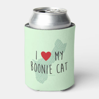 I Love My Boonie Cat Green) Can Cooler