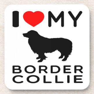 I Love My Border Collie Coaster