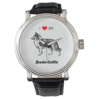 I Love My Border Collie Dog Heart Watch