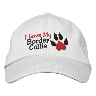 I Love My Border Collie Dog Paw Print Embroidered Hats
