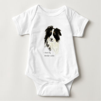 I love my Border Collie Dog Pet Animal Baby Bodysuit
