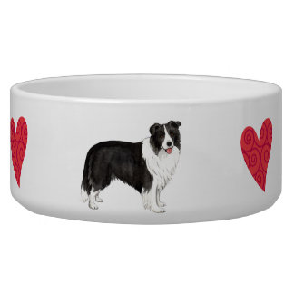 I Love my Border Collie Dog Water Bowl