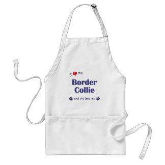 I Love My Border Collie (Female Dog) Adult Apron