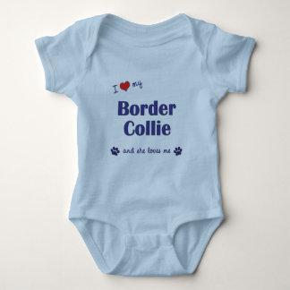 I Love My Border Collie (Female Dog) Baby Bodysuit