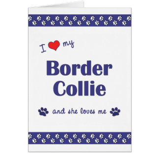 I Love My Border Collie (Female Dog) Note Card