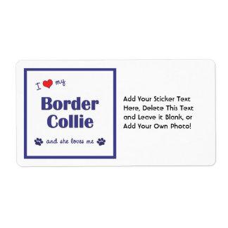 I Love My Border Collie (Female Dog) Shipping Label