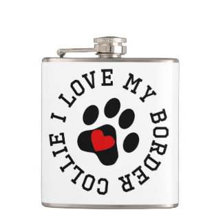 I Love My Border Collie Hip Flask
