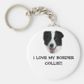 I LOVE MY BORDER COLLIE!! Keyring. Basic Round Button Key Ring