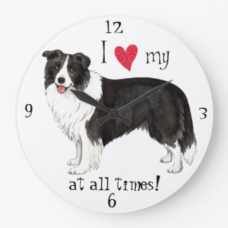 I Love my Border Collie Large Clock