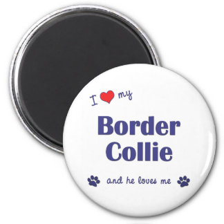 I Love My Border Collie (Male Dog) 6 Cm Round Magnet