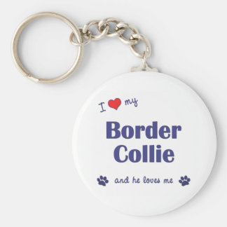 I Love My Border Collie (Male Dog) Key Ring