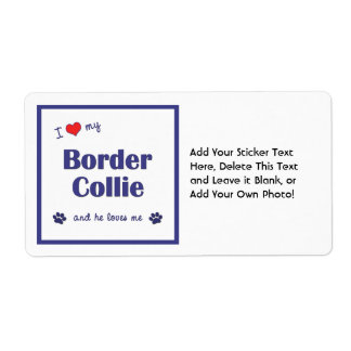 I Love My Border Collie (Male Dog) Shipping Label