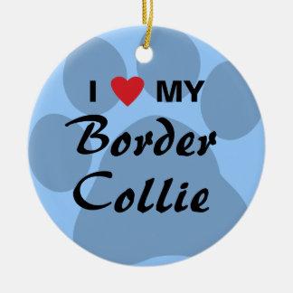 I Love My Border Collie Pawprint Round Ceramic Decoration