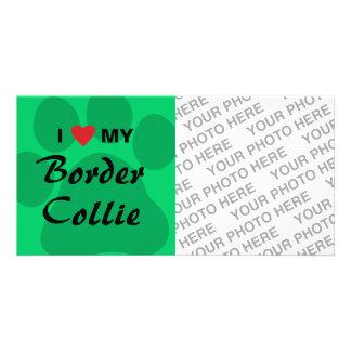 I Love My Border Collie Pawprint Custom Photo Card