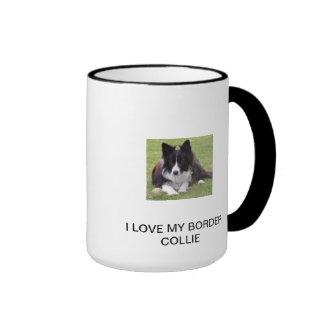 I LOVE MY BORDER COLLIE RINGER MUG