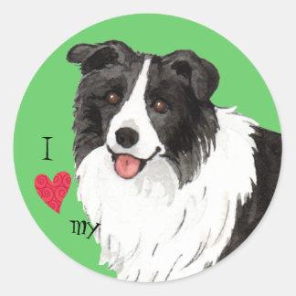 I Love my Border Collie Round Sticker