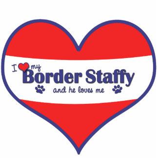 I Love My Border Staffy (Male Dog) Photo Sculpture Decoration