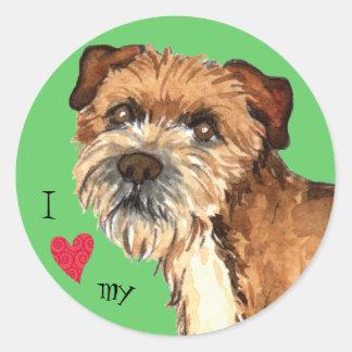 I Love my Border Terrier Round Sticker