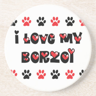 I Love My Borzoi Beverage Coaster