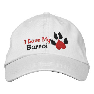 I Love My Borzoi Dog Paw Print Embroidered Baseball Cap