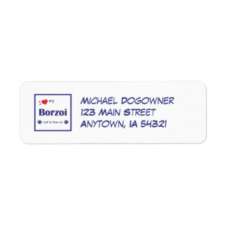 I Love My Borzoi (Male Dog) Return Address Label