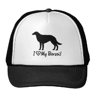I Love My Borzoi with Paw Prints in a Heart Cap