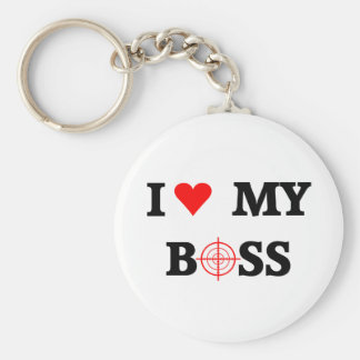 I Love My Boss Basic Round Button Key Ring
