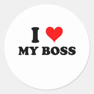 I Love My Boss Round Sticker